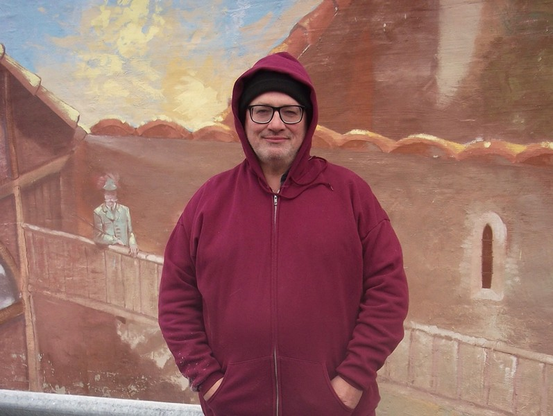 Lothar Speer in front of A Touch of Europe: Memories of Germany in February - JEFF HUEBNER