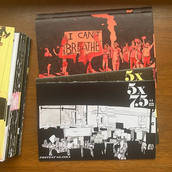 The first issue of Rolando Rodriguez's zine of protest photograph sketches, Protest Season. - BRIANDA MIRELES