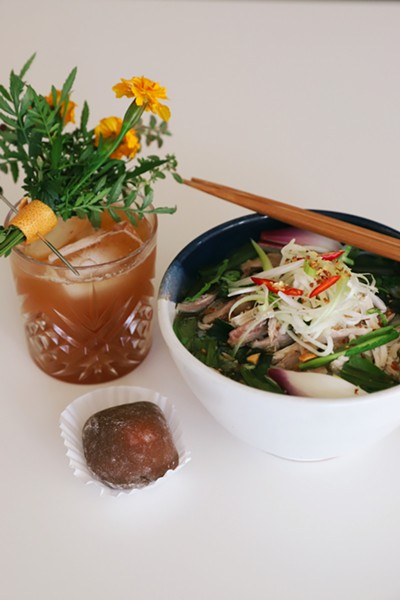 A central style Vietnamese phở paired with a northern style Vietnamese egg coffee mochi - COURTESY DARLENE PHAN