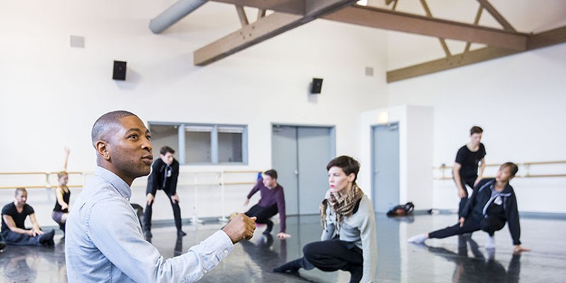 Choreographer Kyle Abraham in rehearsal with the dancers of Hubbard Street Dance Chicago