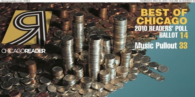 For this 2010 Reader cover, creative director Paul John Higgins assembled roughly $117 in coins into a graphic representing the city's allocation of TIF funds.