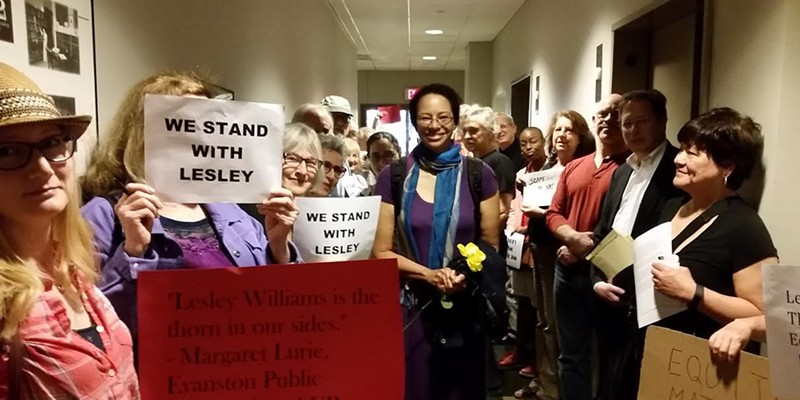 Lesley Williams, with supporters, before her termination hearing on June 2