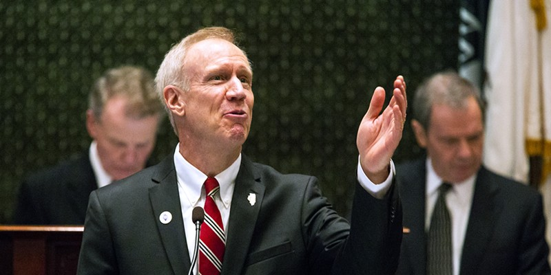 Governor Bruce Rauner delivers his State of the State address to a joint session of the Illinois General Assembly Wednesday.