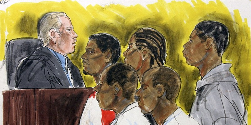 A courtroom sketch of Judge Nicholas Ford presiding over bond court in 2002