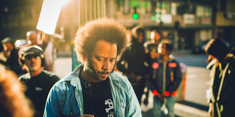Boots Riley on the set of his debut film Sorry to Bother You
