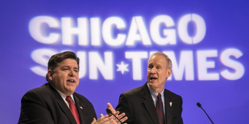 J.B. Pritzker and Governor Bruce Rauner debate earlier this month in front of the Sun-Times Editorial Board.