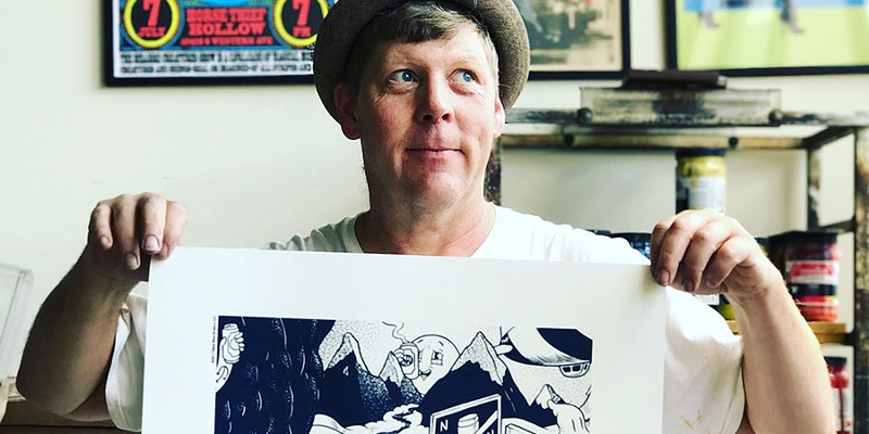 Steve Walters, artist and screen printer at Screwball Press