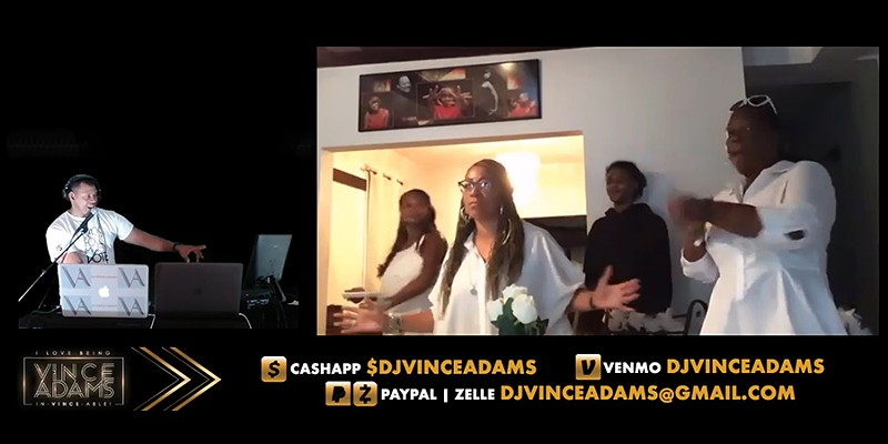 "DJ Vince Adams's Twitch livestreams include a ""VA Cam"" that lets viewers show off their dance moves."