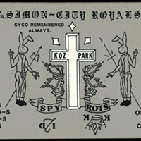"Decoding a Gang Compliment Card ""The cross with the three points at the top is a common Simon City Royals symbol."""