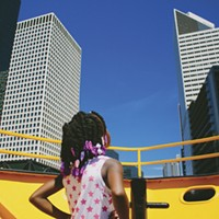 "Photo book Too Fly Not to Fly celebrates #blackgirlmagic and #blackboyjoy Jakyra Rodgers, seven, on the Chicago Water Taxi  Owusu: ""I've lived in Chicago all of my life. It wasn't until my first year of grad school that I discovered that Chicago had a water taxi! I never want any child in Chicago to not be able to experience the beauty of the city. My hope is that she looked in amazement but also with an assurance that the world is bigger than what she thought and if she wants, she can shake up this world and make it a better place."" Desmond Owusu"