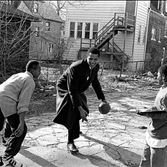 "Alley Ball, 1995 By Marc PoKempner© for ""What Makes Obama Run?""PoKempner says: ""We began at his campaign office on 71st Street, and walked around the neighborhood, collecting signatures for his nominating petition and meeting residents. He had a very easy way of engaging with everybody—kids, seniors, rich and poor, black and white—and I spent an unusual amount of time shooting—four or five days over the course of a couple weeks—for what turned out to be just a three-picture story."""