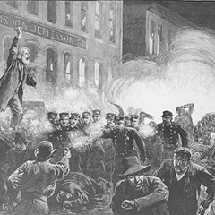 Rendering of the Haymarket Square tragedy of May 4, 1886