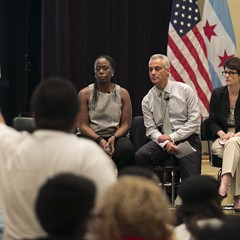 Mayor Rahm, flanked by former Daley administration appointees Carole Brown and Alexandra Holt