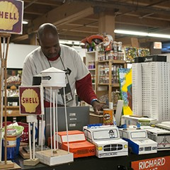 Wesley Willis's brother Ricky creates sculptures out of cardboard, glue, and tape.
