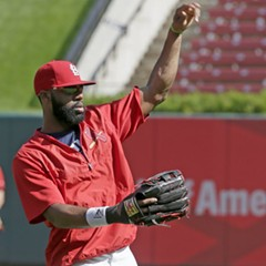Jason Heyward warming up yesterday