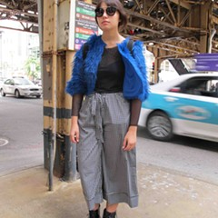 An electric blue jacket makes this late-fall outfit spark