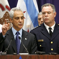 Mayor Emanuel and police superintendent Garry McCarthy at a press conference yesterday afternoon.
