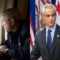 Former president George W. Bush surveys post-Katrina New Orleans; Mayor Rahm Emanuel surveys the crowd at last week's Laquan McDonald press conference.