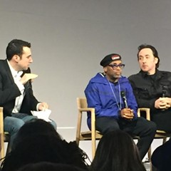 Spike Lee and John Cusack speak at a panel at an Apple Store in NYC.