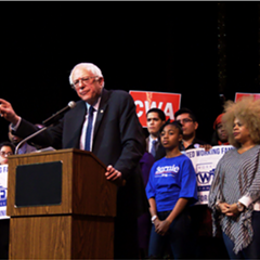 Presidential hopeful Bernie Sanders spoke to an audience of supporters in Chicago Wednesday.