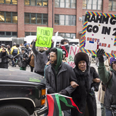 Chicago State University students and supporters demonstrated outside 300 N. LaSalle Street Monday.