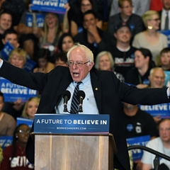 Democratic presidential candidate Bernie Sanders at a rally in Las Vegas Sunday