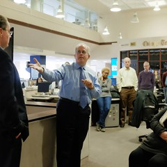 Gerould Kern, center, will be replaced by the Tribune's editorial page editor, Bruce Dold, left.