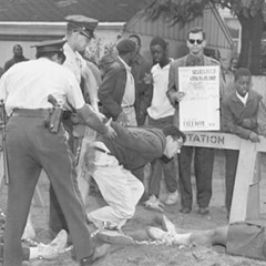 Chicago policemen arrest Bernie Sanders near 73rd and Lowe on August 13, 1963.