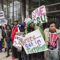 Chicago State University students and supporters demonstrated in the Loop in early February.