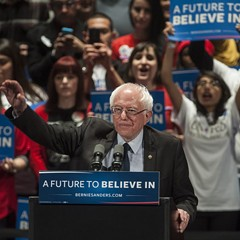 Bernie Sanders at his rally at the Auditorium Theatre Monday night