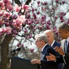 Federal appeals court judge Merrick Garland steps to the mike during the announcement of his Supreme Court nomination.
