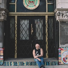 Martin Sorrondeguy outside the A.P.O. Building in Pilsen