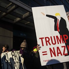 An protestor demonstrates against Donald Trump outside the American Israel Public Affairs Committee (AIPAC) conference in Washington, D.C. Monday.