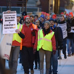 Chicago teachers protest in late February. The Chicago Teachers Union is staging a planned one-day strike Friday.