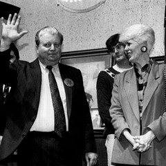 Chicago police commander Jon Burge waves to supporters at a 1992 benefit to raise money for his legal fees.