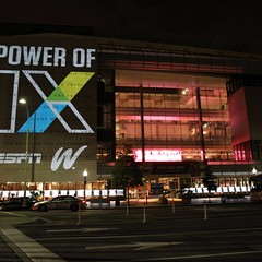 EspnW commemorates the 40th anniversary of Title IX by unveiling the world's largest photo mosaic of female athletes upon the Washington Newseum's 74-foot-high First Amendment tablet in June 2012.