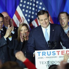 Presidential candidate Ted Cruz in Milwaukee Tuesday night, following his win in the Wisconsin Republican primary.