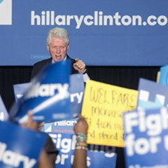 Bill Clinton spars with protesters at a rally last week in Philadelphia.