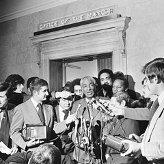 Congressman Ralph Metcalfe talks to reporters at City Hall in 1972. The findings of his panel on police misconduct are eerily similar to the findings of today's police accountability task force.