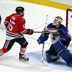 Andrew Shaw, left, during Tuesday night's game against the Saint Louis Blues