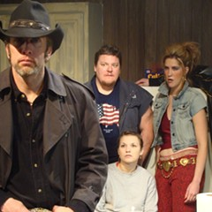 The cast of Killer Joe. From left: Darrell Cox, Howie Johnson, Claire Wellin, Somer Benson, and Kevin Bigley.