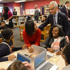 Mayor Emanuel at south-side CPS school Ariel Community Academy in April 2015.