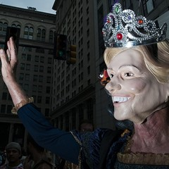 """The """"queen of regime change"""" protesting at Philadelphia's City Hall."""