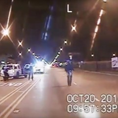 Laquan McDonald, right, moments before he was fatally shot by Chicago police officer Jason Van Dyke