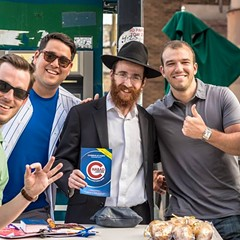 Rabbi Dovid Kotlarsky and Cubs fans in Wrigleyville