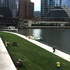 A week after its completion, the new leg of the Riverwalk is almost done