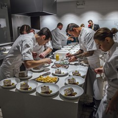 The kitchen staff remained laser-focused throughout the seven-course meal.