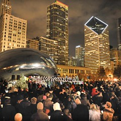 A rotating lineup of choirs carol at Cloud Gate starting Fri 11/25.