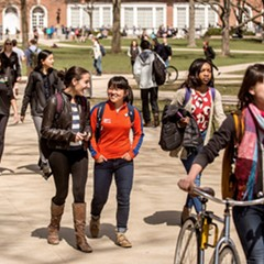 Students walk across the quad on the University of Illinois campus in Urbana.