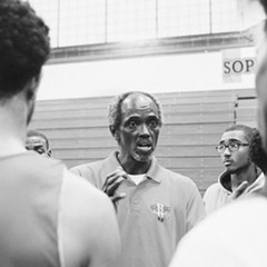 Craig Hodges speaks to the players he coaches at Rich East High School.